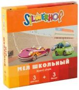 Мел, школьный , цветной, (набор из 3 бел.+3 цв.) HAPPY CARS, карт.коробка